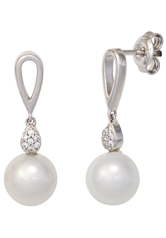 JOBO Perlenohrringe 925 Silber mit synthetischen Perlen und Zirkonia
