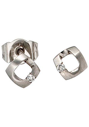 JOBO Paar Ohrstecker, 950 Platin mit 2 Diamanten