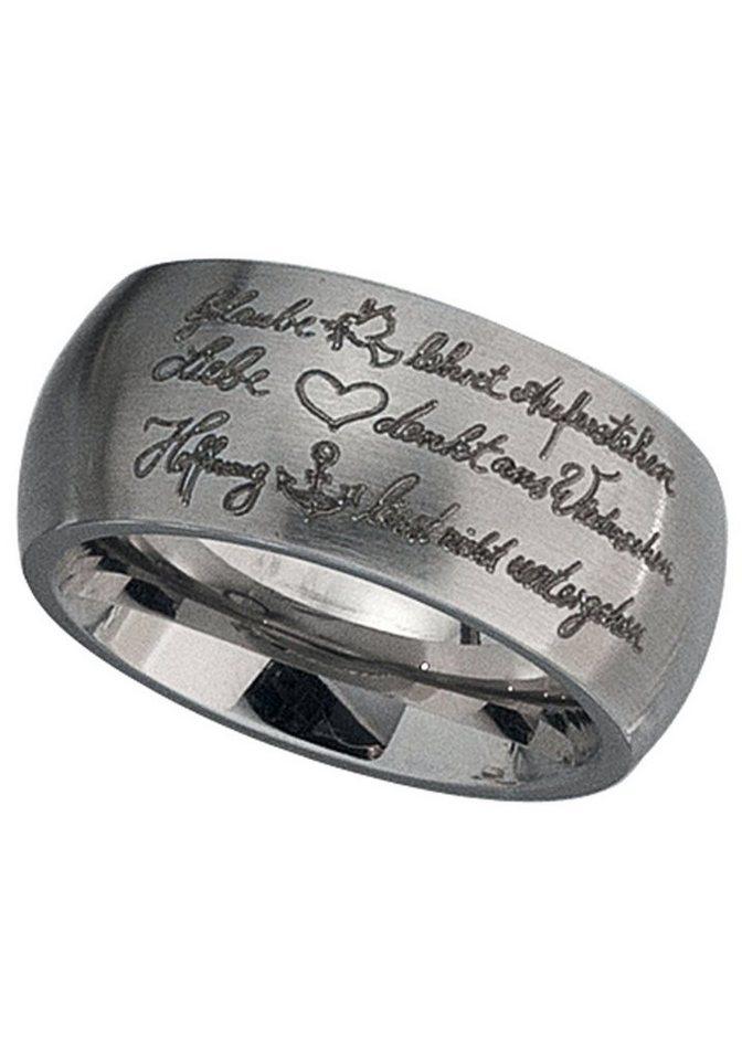 JOBO Fingerring »Glaube, Liebe, Hoffnung« breit Edelstahl | Schmuck > Ringe > Fingerringe | JOBO