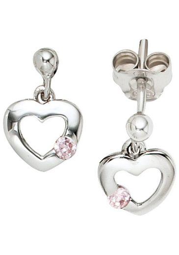 JOBO Paar Ohrhänger, Herz 925 Silber mit Zirkonia