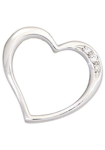 JOBO Herzanhänger »Herz«, 585 Weißgold mit 3 Diamanten