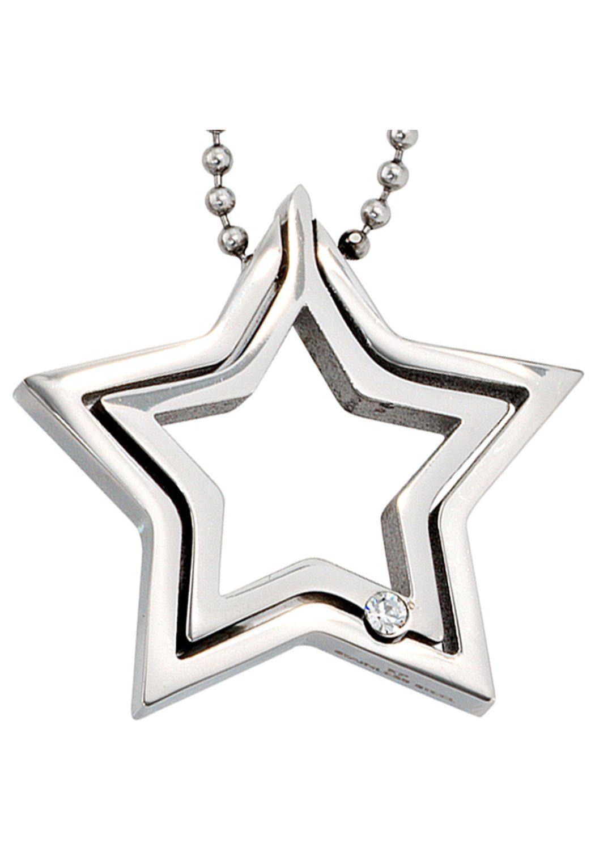 JOBO Kette mit Anhänger »Stern« Edelstahl mit Kristall 48 cm