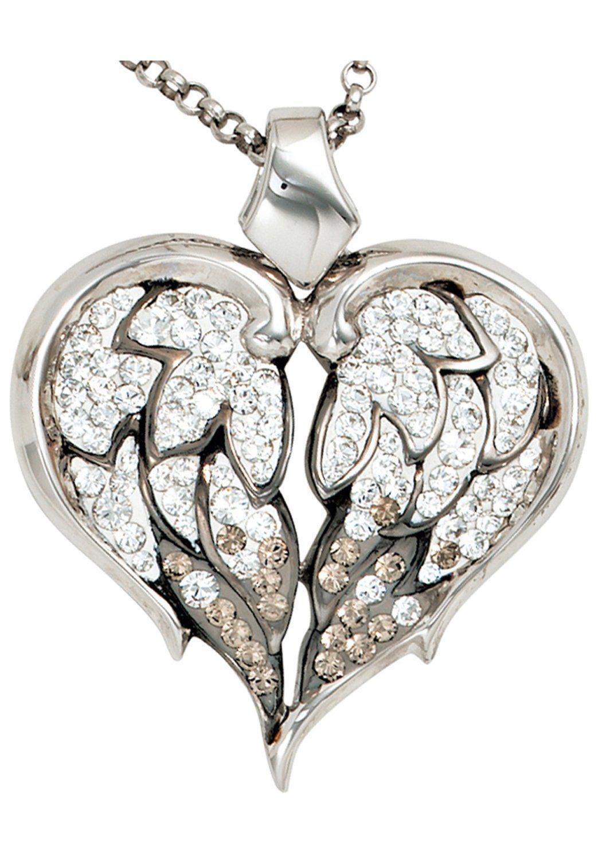 JOBO Kette mit Anhänger Herz 925 Silber mit SWAROVSKI® ELEMENTS 50 cm | Schmuck > Halsketten > Ketten mit Anhänger | JOBO