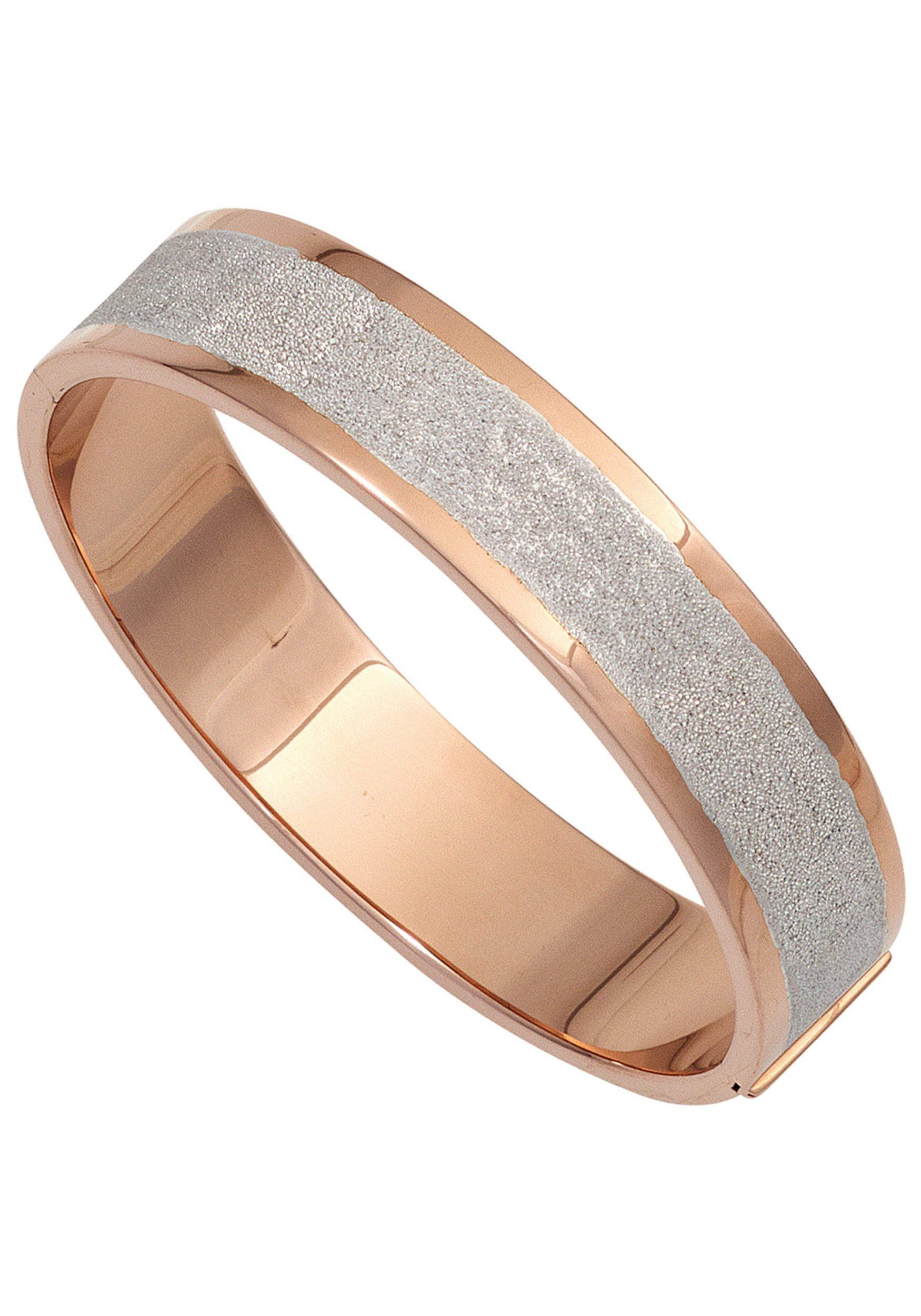JOBO Armreif, breit oval 925 Silber roségold vergoldet