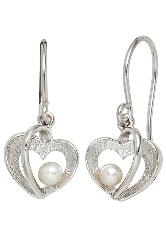 JOBO Perlenohrringe Herz 925 Silber mit Süßwasser-Zuchtperlen