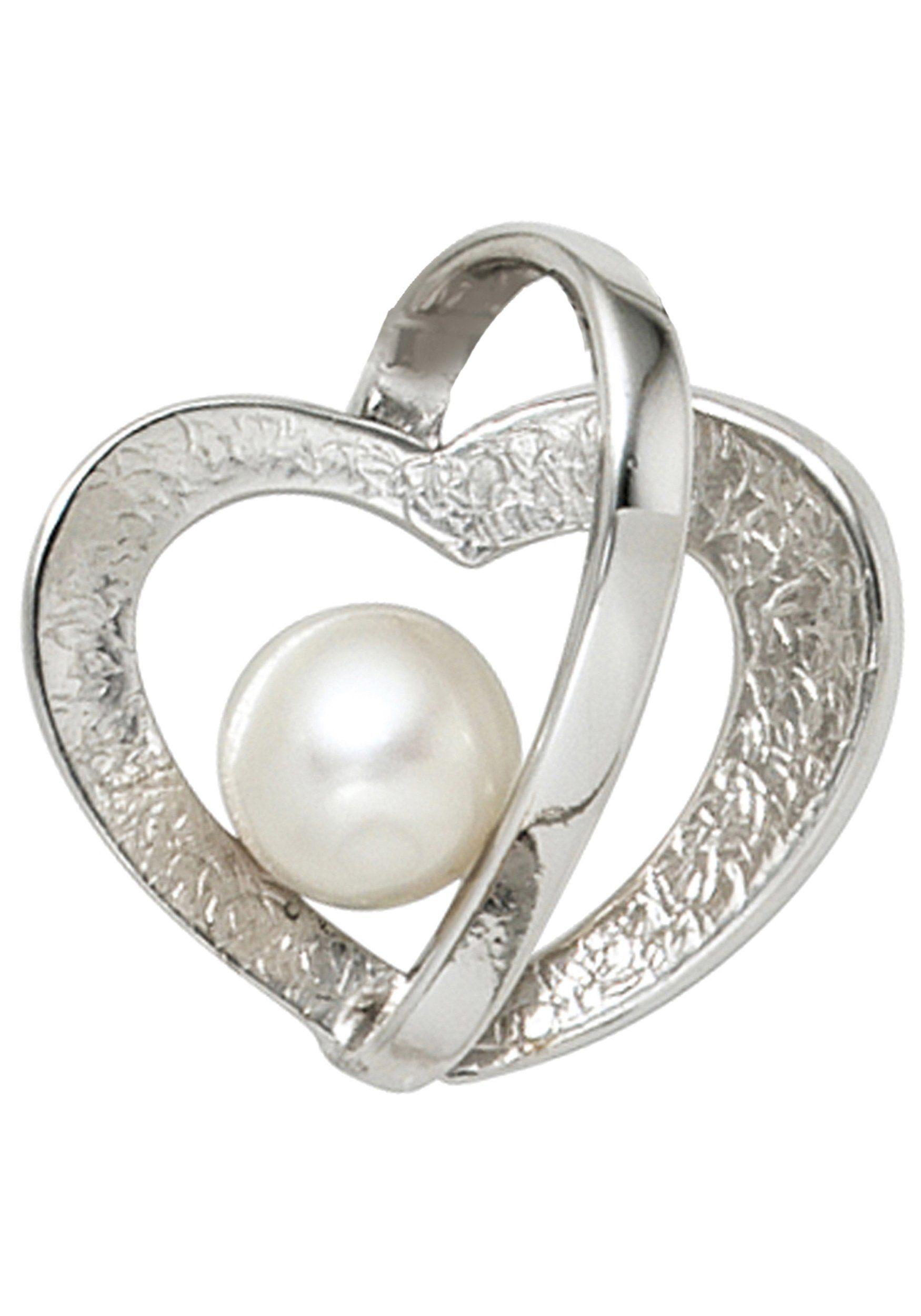 JOBO Herzanhänger »Herz« 925 Silber mit einer Süßwasser-Zuchtperle