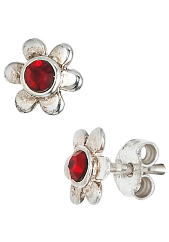 JOBO Paar Ohrstecker »Blume« 925 Silber mit Glassteinen