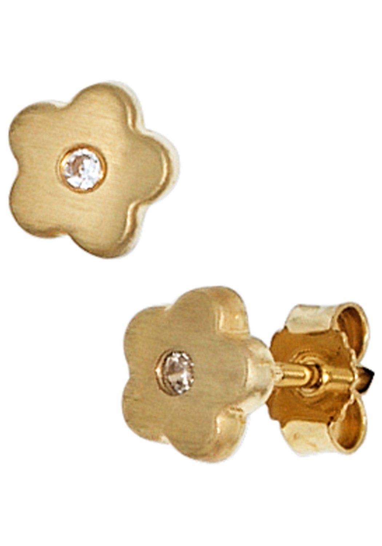 JOBO Paar Ohrstecker »Blume« 333 Gold mit Zirkonia