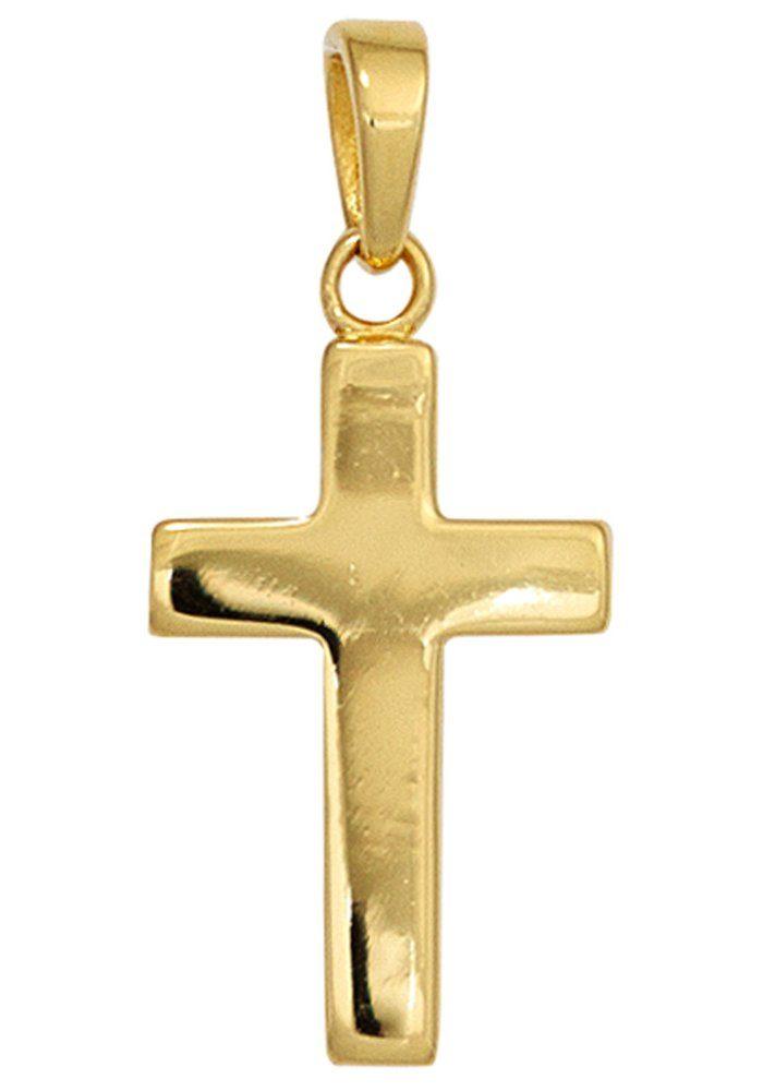 JOBO Kreuzanhänger Kreuz 925 Silber vergoldet