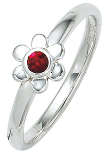 JOBO Fingerring »Blume«, 925 Silber mit Glasstein