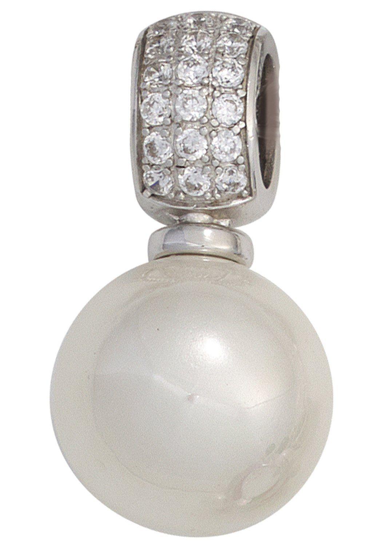 JOBO Perlenanhänger 925 Silber mit synthetischer Perle und Zirkonia