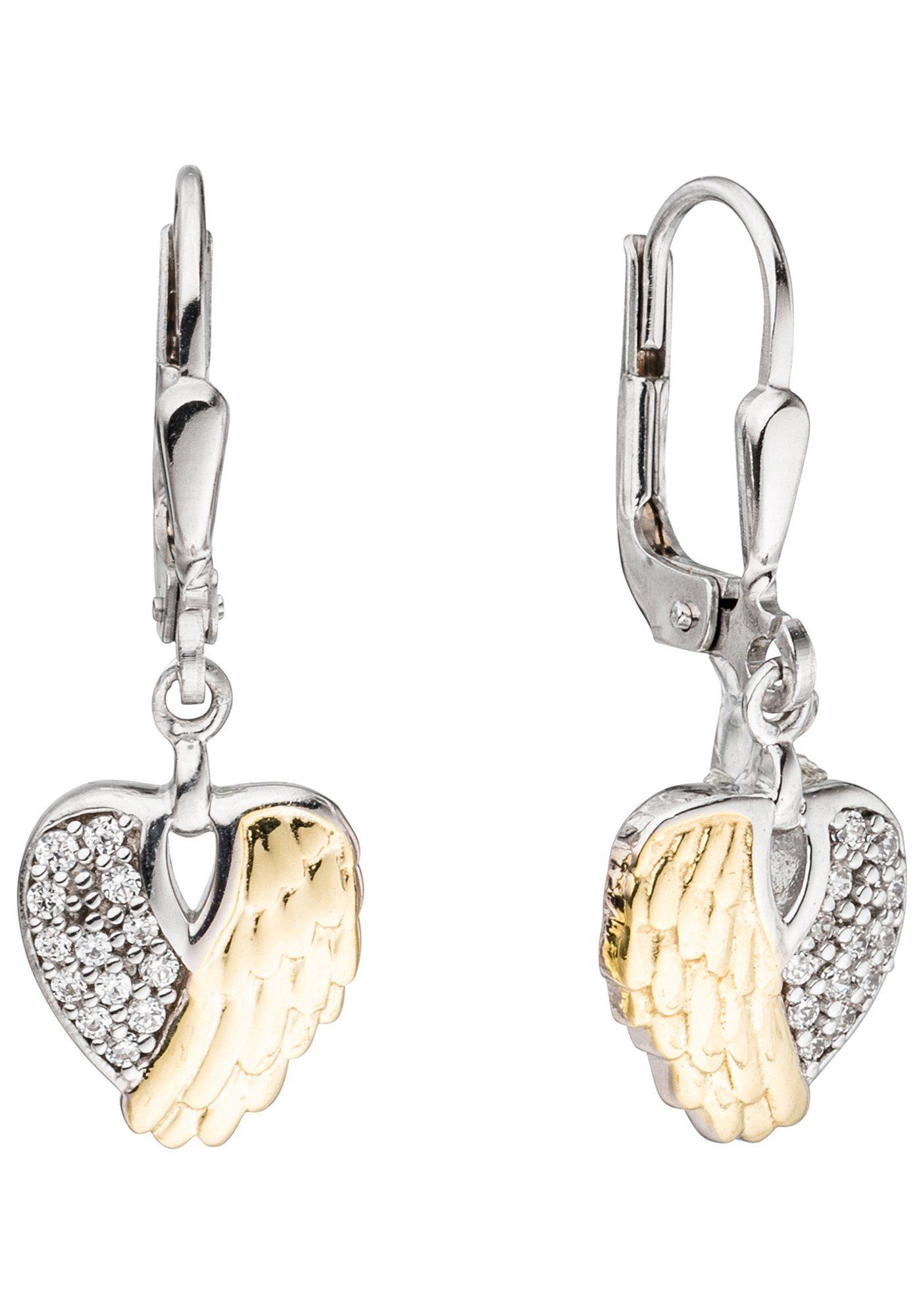 JOBO Paar Ohrhänger »Herz Flügel« 925 Silber bicolor mit Zirkonia