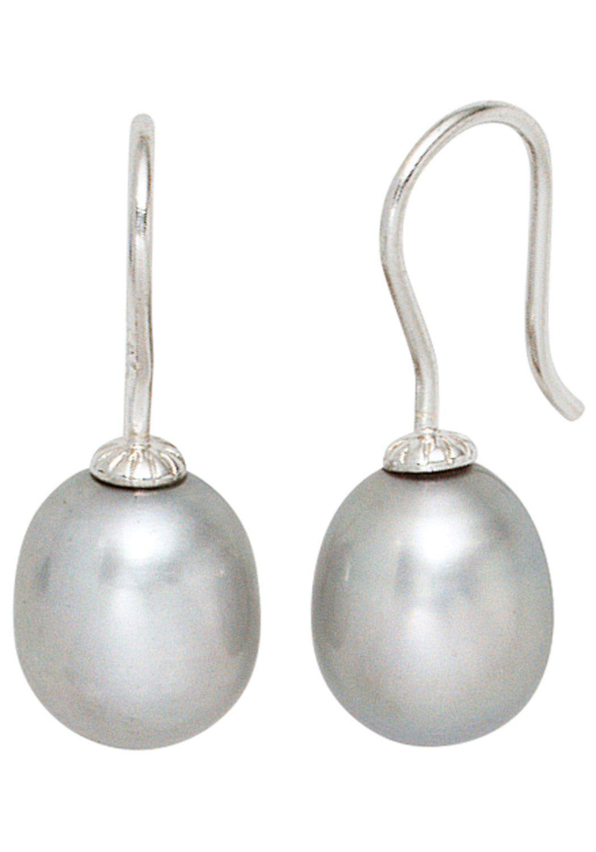 JOBO Perlenohrringe 925 Silber mit Süßwasser-Zuchtperlen