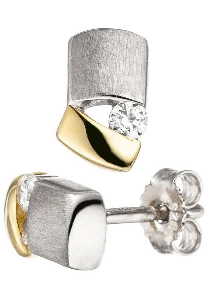 e6134f0a18fb JOBO Paar Ohrstecker 925 Silber bicolor vergoldet mit Zirkonia ...