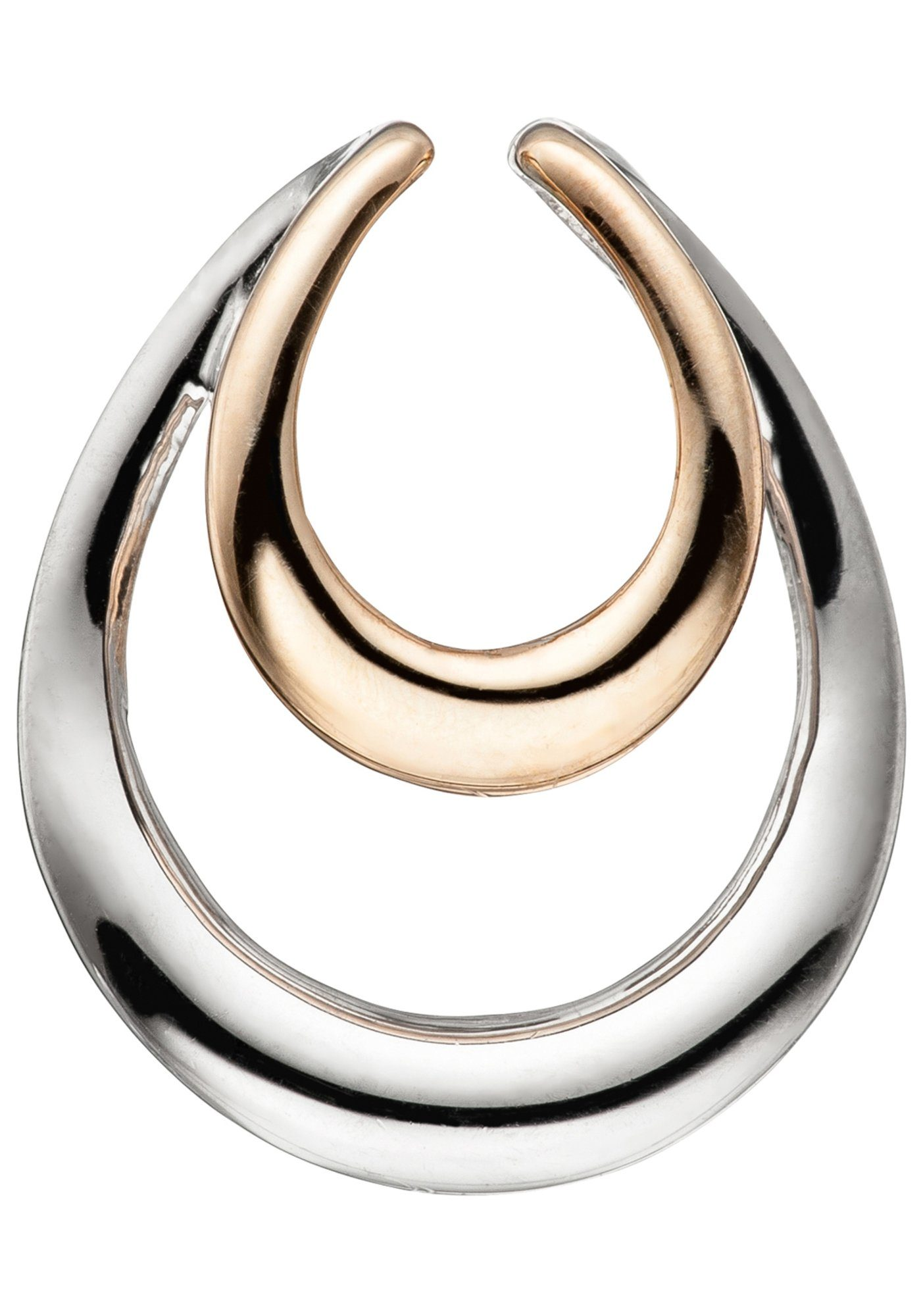 JOBO Kettenanhänger Tropfen 925 Silber bicolor vergoldet