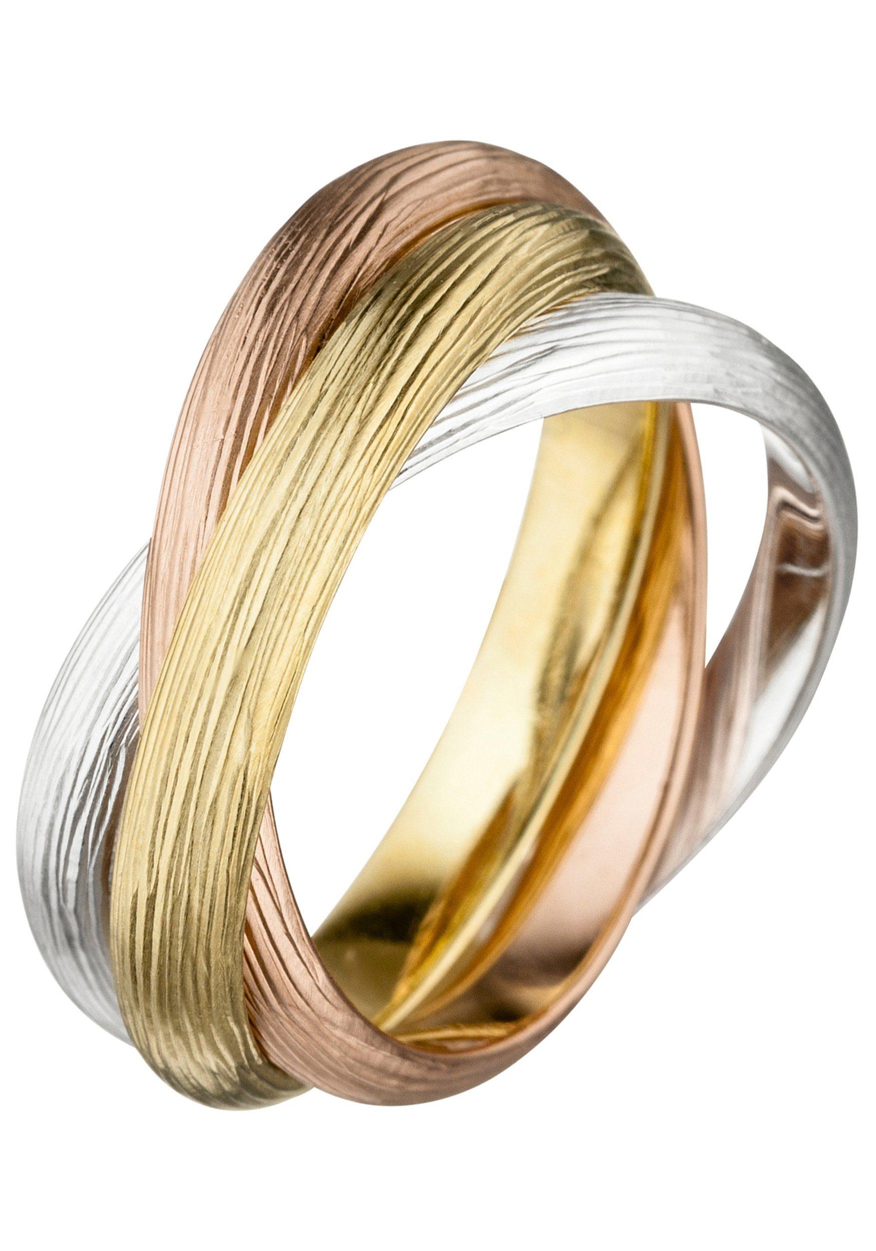 JOBO Fingerring verschlungen 925 Silber tricolor vergoldet