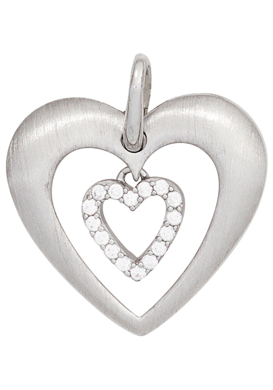 JOBO Herzanhänger »Herz« 925 Silber mit Zirkonia | Schmuck > Halsketten > Herzketten | Silber | JOBO