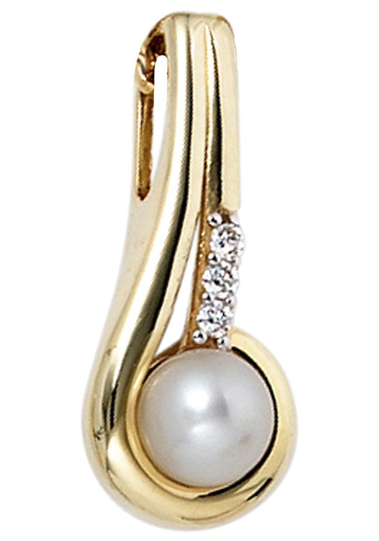 JOBO Perlenanhänger 333 Gold mit Süßwasser-Zuchtperle und Zirkonia