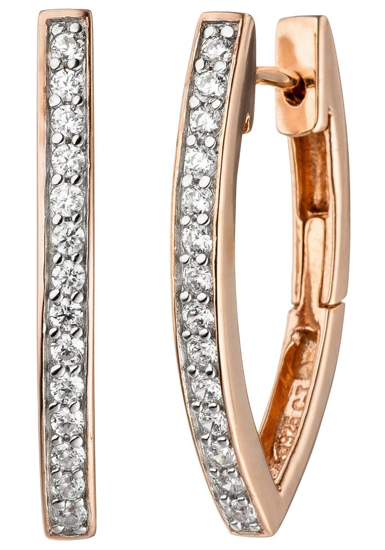 JOBO Paar Creolen 925 Silber roségold vergoldet bicolor mit Zirkonia