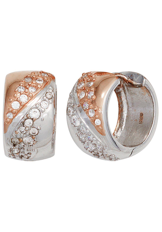 JOBO Paar Creolen breit 925 Silber bicolor vergoldet mit Zirkonia