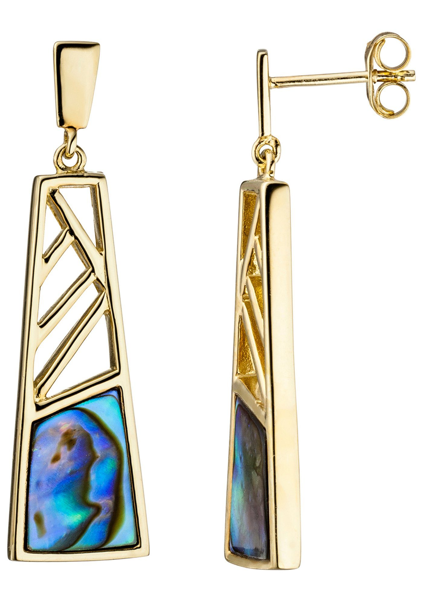 JOBO Paar Ohrhänger 925 Silber vergoldet mit Abalone