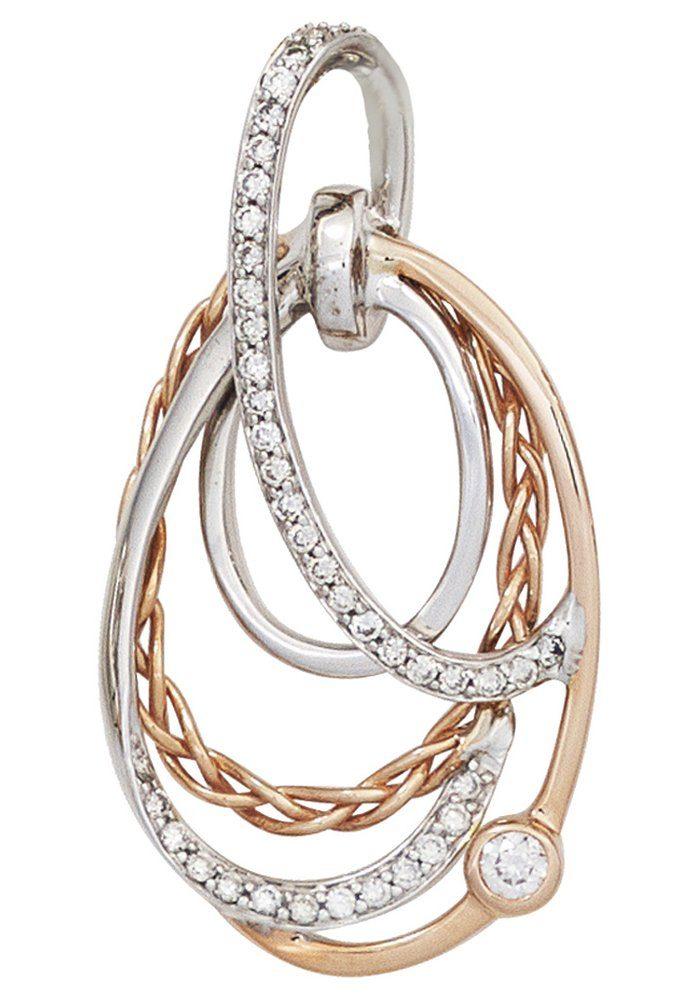JOBO Kettenanhänger 585 Gold bicolor mit 41 Diamanten