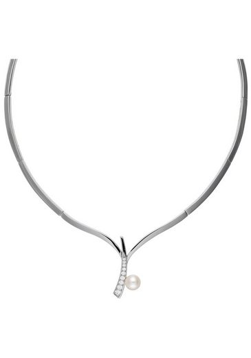 JOBO Collier, 925 Silber 1 Süßwasser Perle und Zirkonia 42 cm