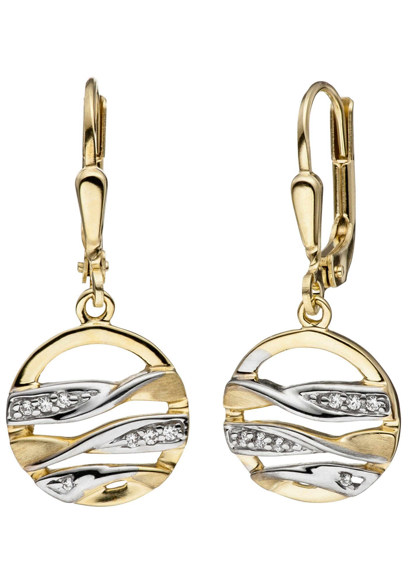 JOBO Paar Ohrhänger rund 333 Gold bicolor mit Zirkonia