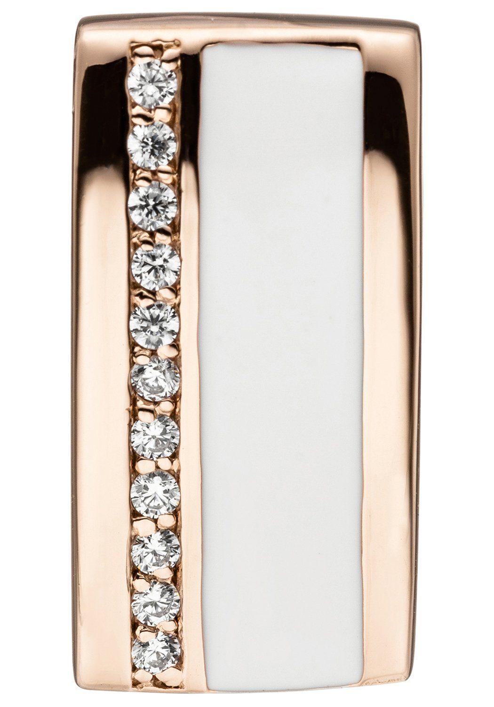 JOBO Kettenanhänger 925 Silber roségold vergoldet mit Zirkonia