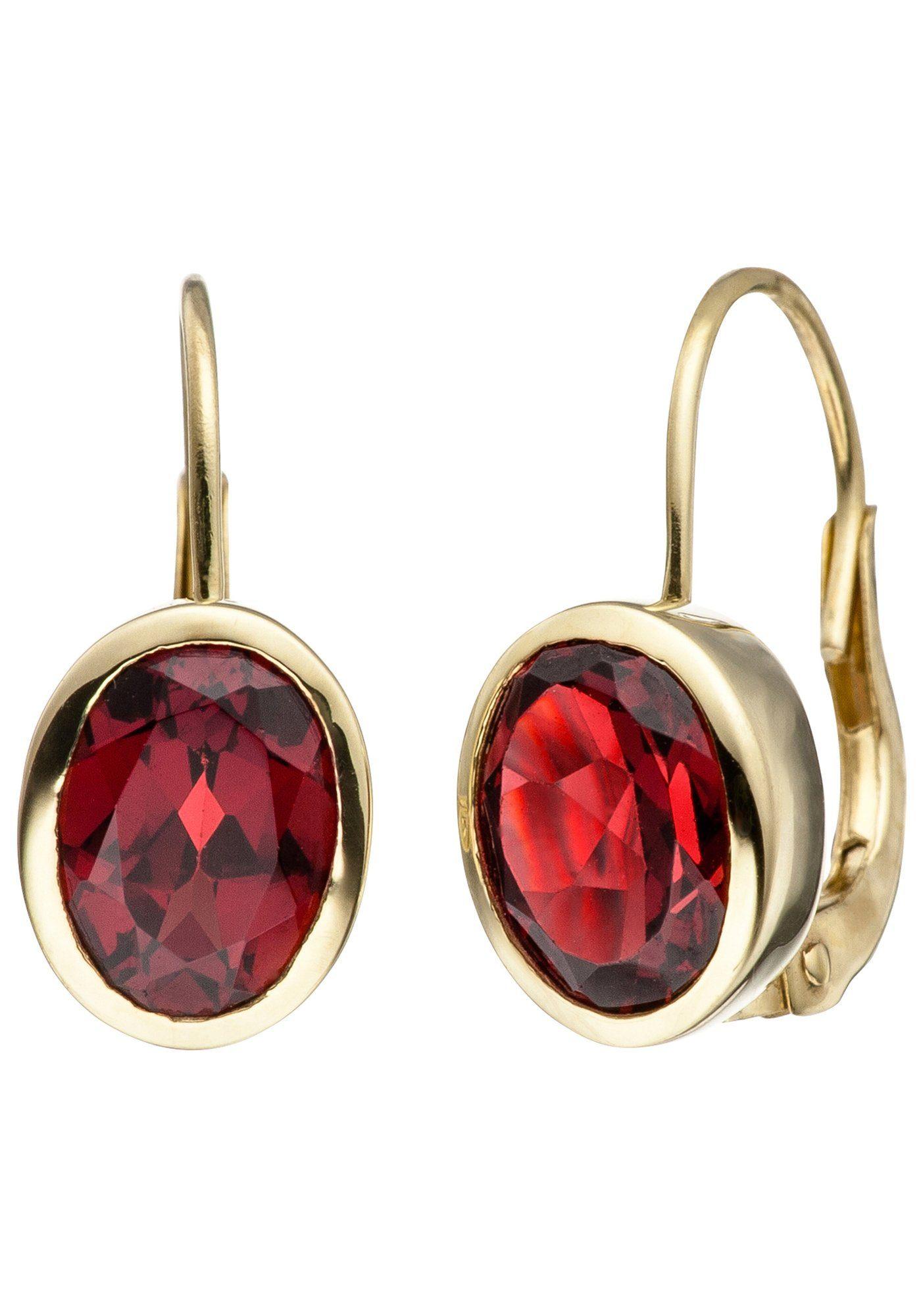 JOBO Paar Ohrhänger 333 Gold mit Granat