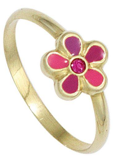 JOBO Fingerring »Blume«, 333 Gold mit Glasstein