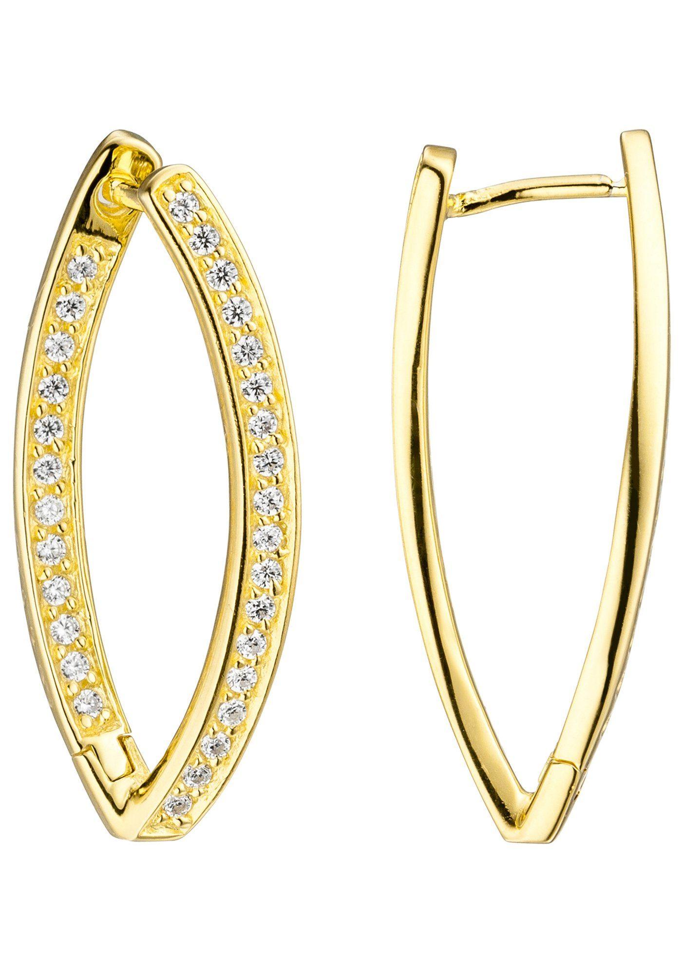 JOBO Paar Creolen 925 Silber vergoldet mit Zirkonia