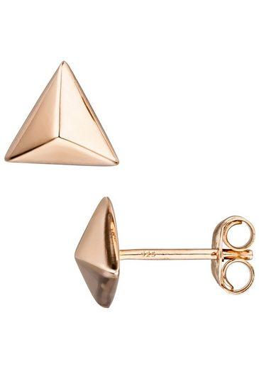 JOBO Paar Ohrstecker »Dreieck«, dreieckig 925 Silber roségold vergoldet
