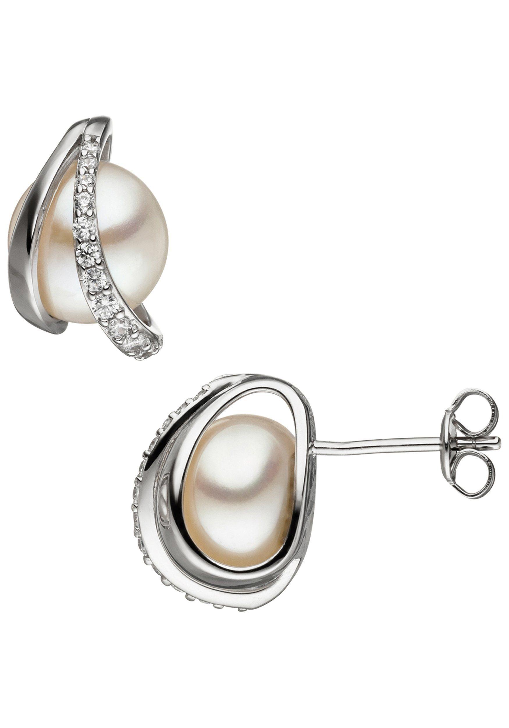 JOBO Perlenohrringe 925 Silber mit Süßwasser-Zuchtperlen und Zirkonia