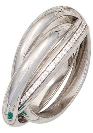 JOBO Silberring verschlungen 925 Silber mit Zirkonia