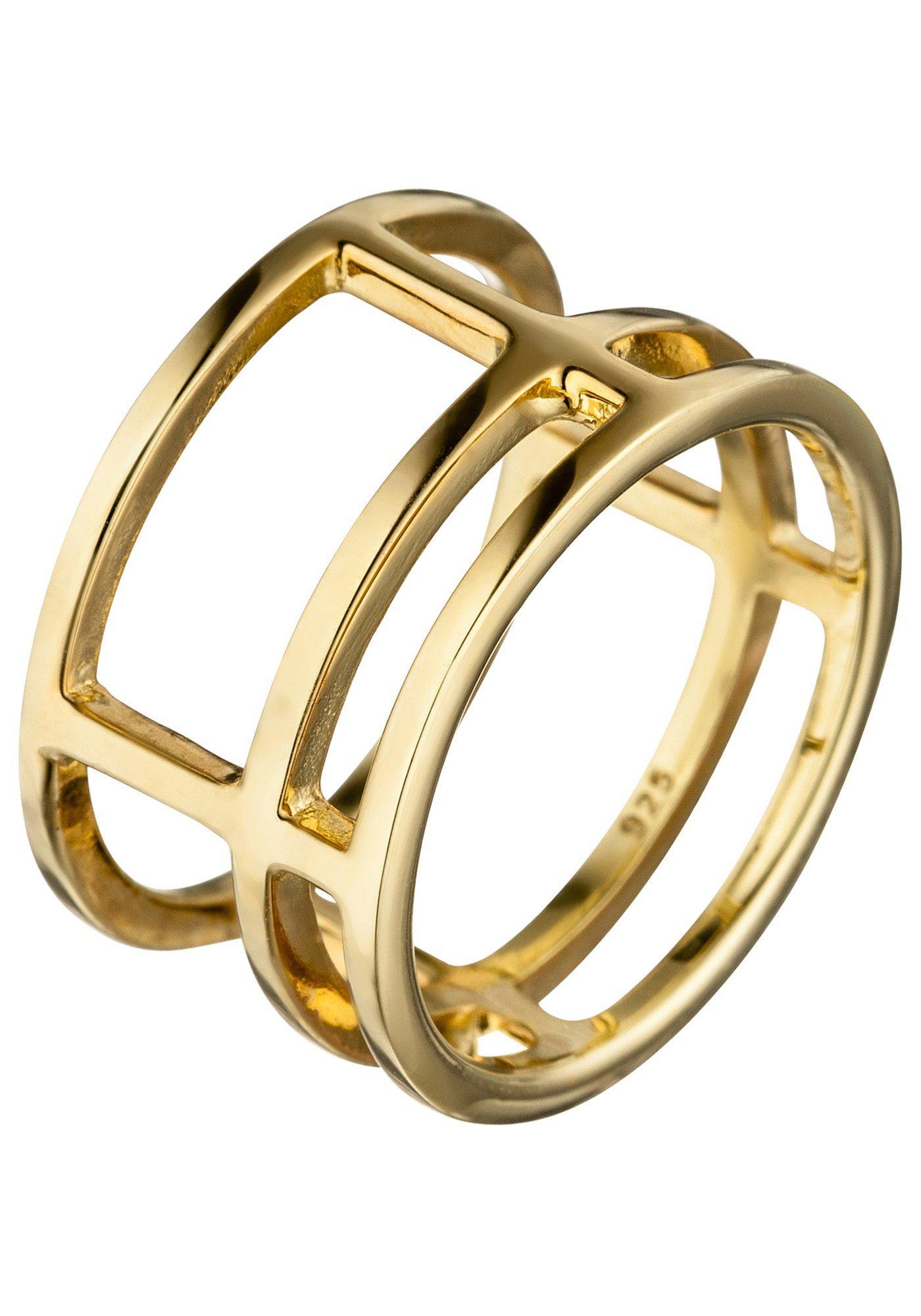 JOBO Fingerring breit 925 Silber vergoldet