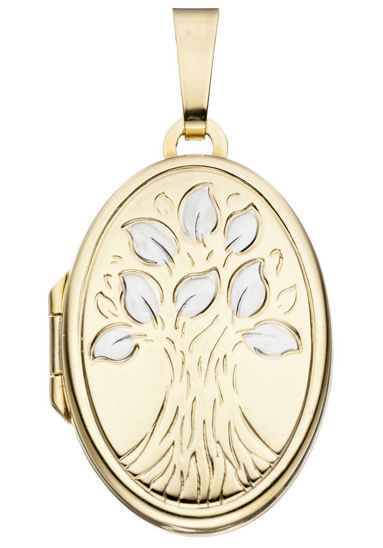 JOBO Medallionanhänger »Baum« oval 585 Gold bicolor