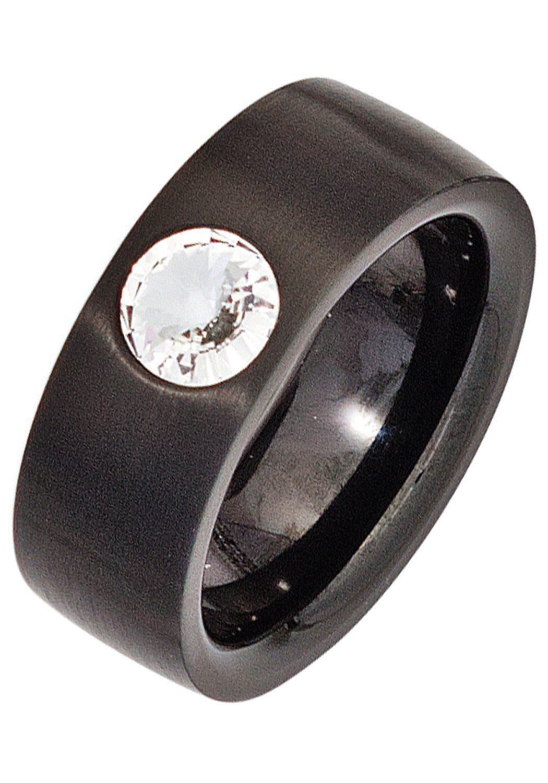 Fingerring Schwarz Element Beschichtet Kaufen Swarovski® Online Edelstahl Jobo qcAL354Rj