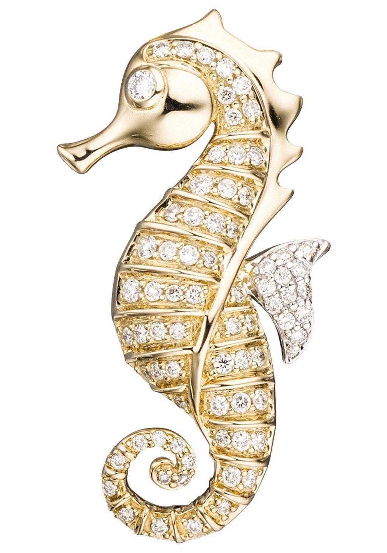 JOBO Kettenanhänger »Seepferdchen« 585 Gold mit 73 Diamanten