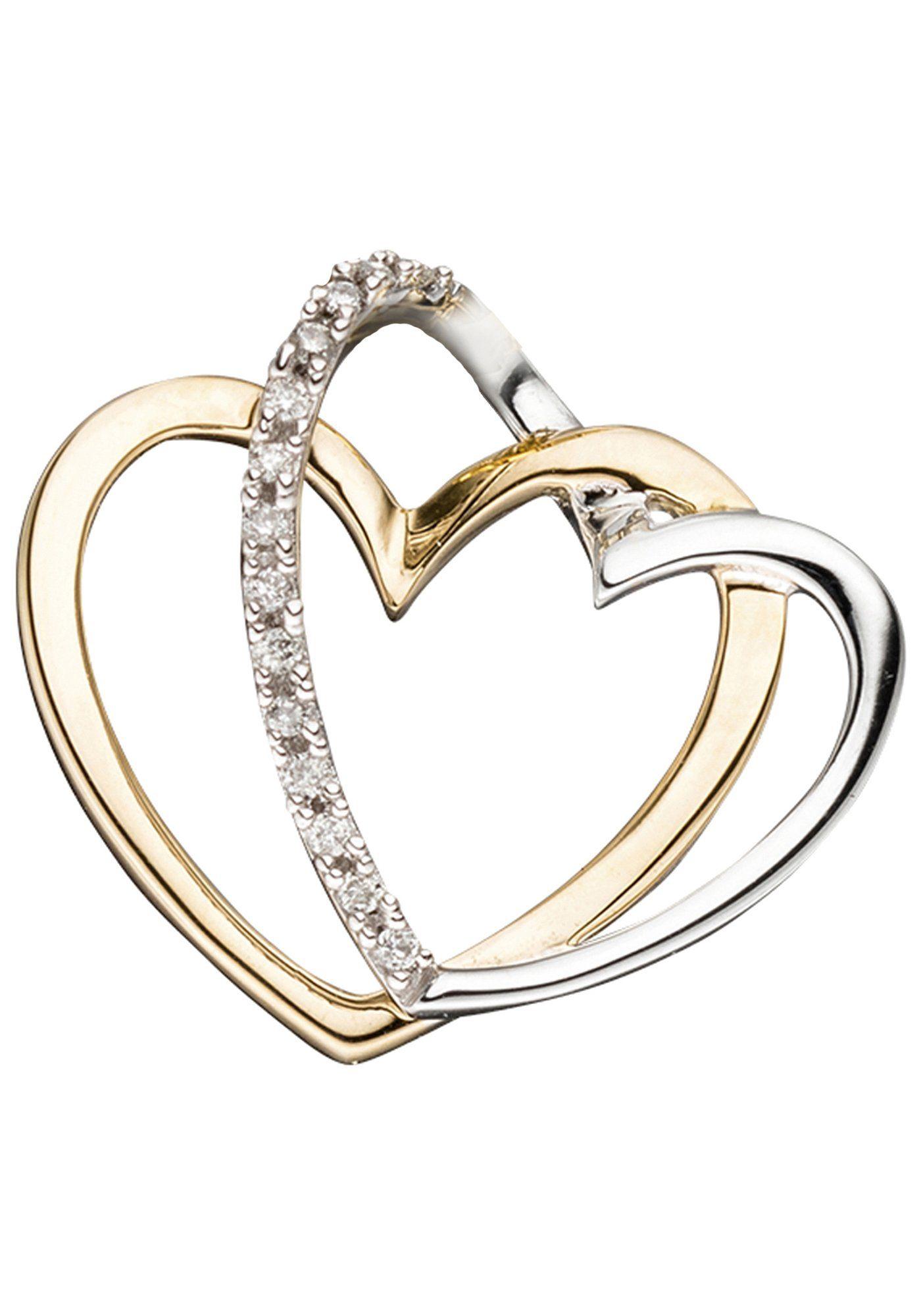 JOBO Herzanhänger, 585 Gold bicolor mit 14 Diamanten