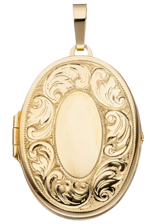 JOBO Medallionanhänger oval 925 Silber vergoldet