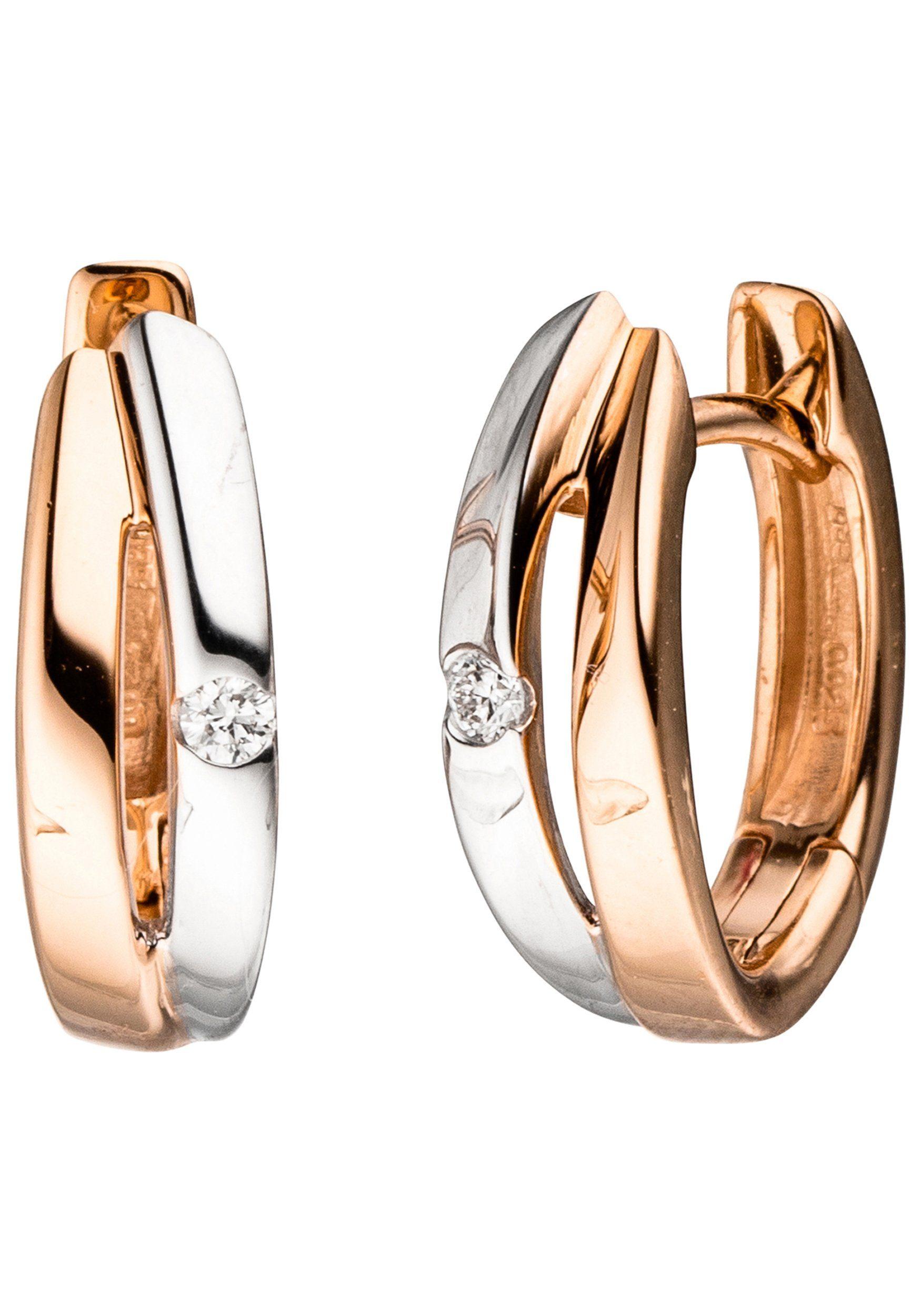JOBO Paar Creolen 585 Roségold bicolor mit 2 Diamanten