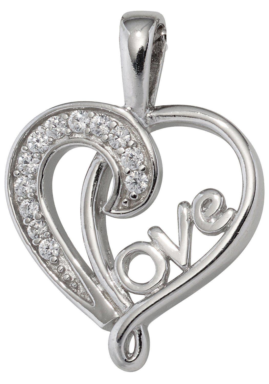 JOBO Herzanhänger »LOVE« 925 Silber mit Zirkonia