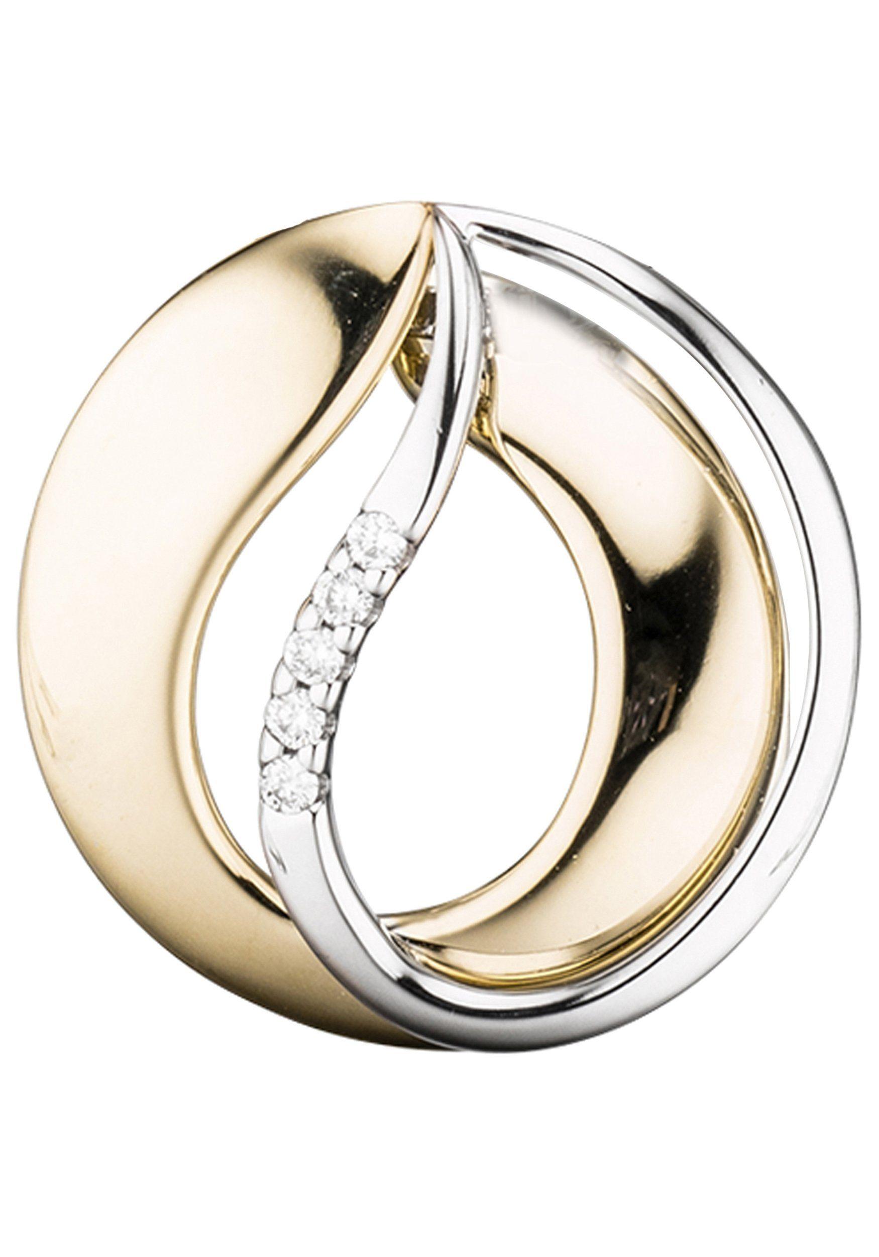 JOBO Kettenanhänger 585 Gold bicolor mit 5 Diamanten