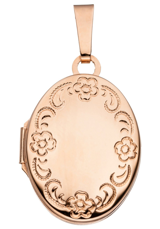 JOBO Medallionanhänger oval 925 Silber roségold vergoldet