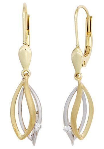 JOBO Paar Ohrhänger, 585 Gold bicolor mit 2 Diamanten
