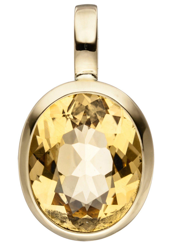 JOBO Kettenanhänger oval 585 Gold mit Citrin