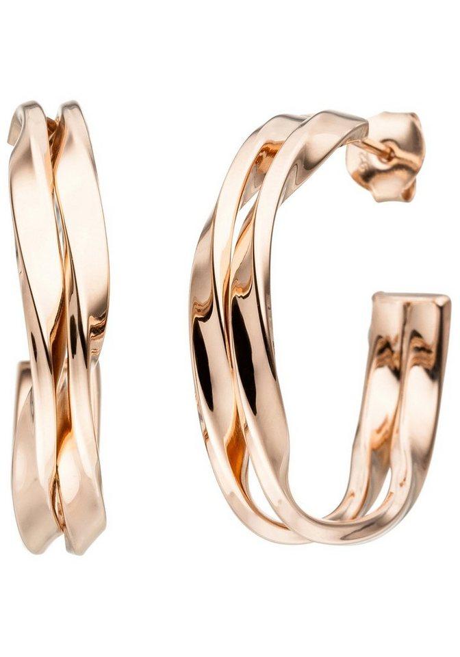 JOBO Paar Creolen 925 Silber roségold vergoldet | Schmuck > Ohrschmuck & Ohrringe > Creolen | Goldfarben | JOBO