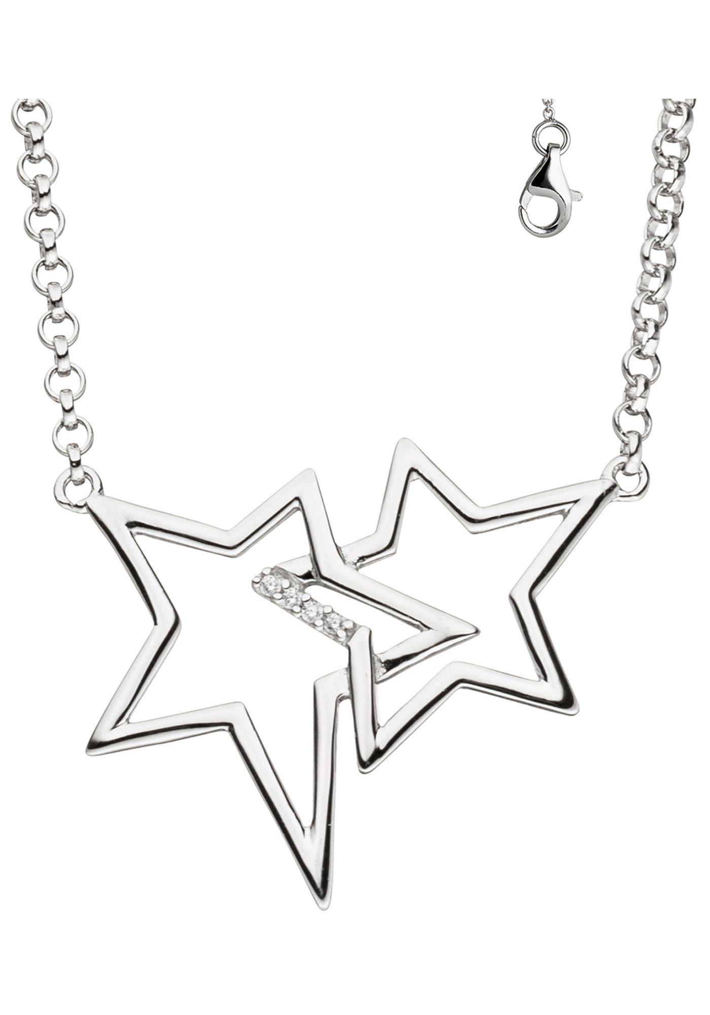 JOBO Collier »Sterne« 925 Silber mit Zirkonia 45 cm