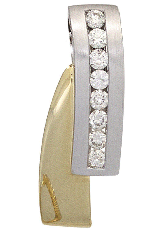 JOBO Kettenanhänger 585 Gold bicolor mit 8 Diamanten